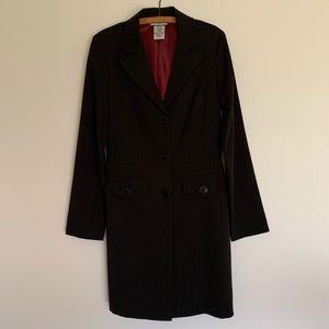 Vintage Black Collar Pin Stripe Blazer Dress / 5-6